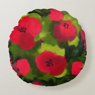 Painted Poppies | Perfect Floral Art Round Pillow
