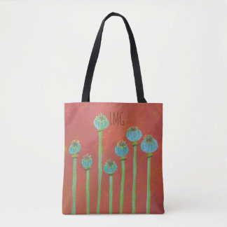 Painted Poppy Seeds And Monogram Tote Bag