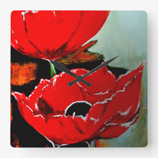 Painted Poppy Square Wall Clock
