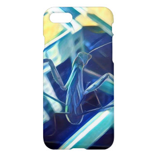 Painted Praying Mantis Blue and Yellow Phone Case