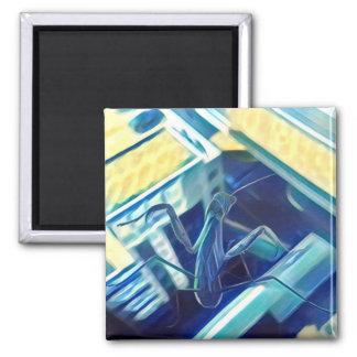 Painted Praying Mantis Magnet Blue and Yellow