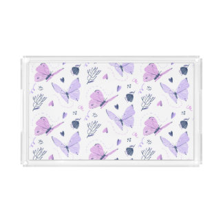 Painted purple Butterflies on night background Acrylic Tray