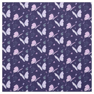 Painted purple Butterflies on night background Fabric