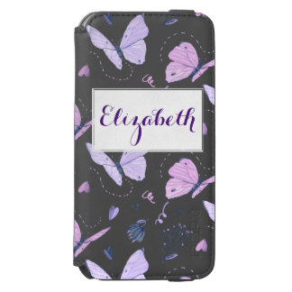 Painted purple Butterflies on night background Incipio Watson™ iPhone 6 Wallet Case