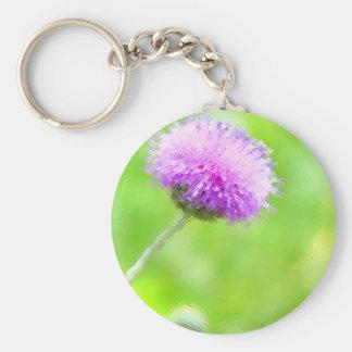 Painted Purple Thistle Keychain