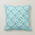 Painted Quatrefoil Pattern Aqua Blue Throw Pillow