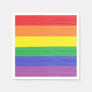 Painted Rainbow Flag Disposable Napkin