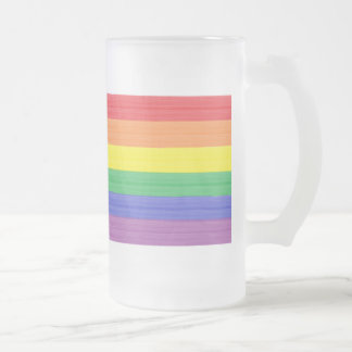 Painted Rainbow Flag Frosted Glass Beer Mug