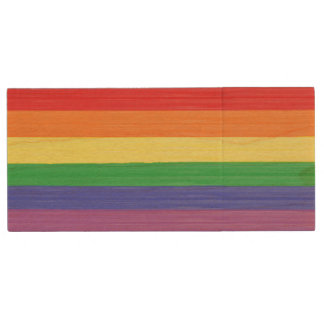 Painted Rainbow Flag Wood USB Flash Drive
