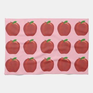 Painted Red Apples Green Leaves Kitchen Towels