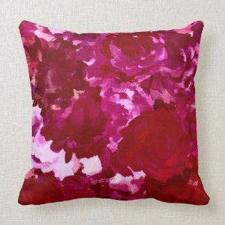 Painted Red Flowers Pillow