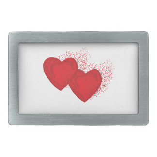 Painted red heart spray rectangular belt buckle