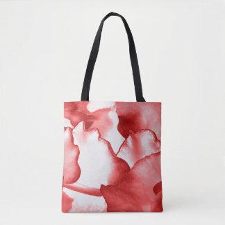 Painted Red Petals Tote Bag