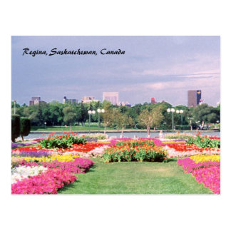 Painted Regina Legislative Gardens Postcard