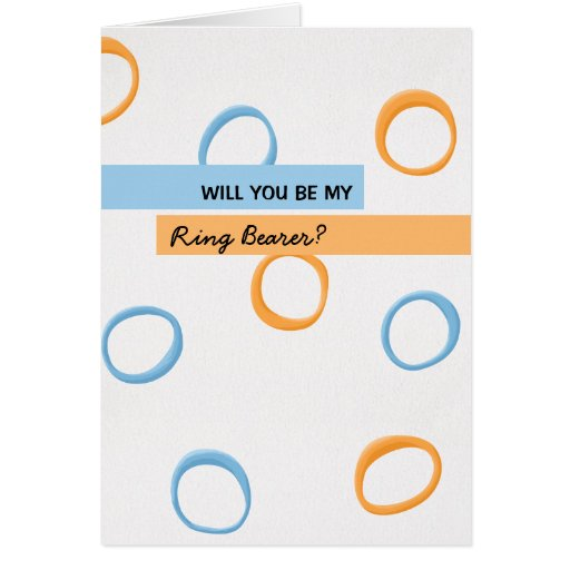 Painted Retro Circles blue Be My Ring Bearer Greeting Cards