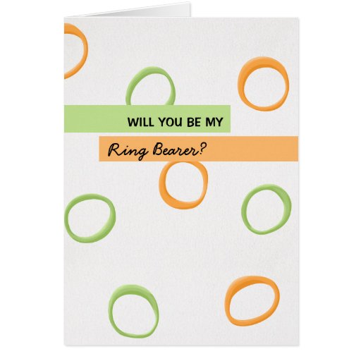 Painted Retro Circles green Be My Ring Bearer Card