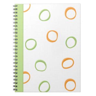 Painted Retro Circles orange green Notebook