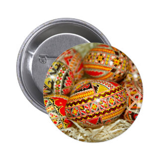 Painted Romanian Easter Eggs 2 Inch Round Button