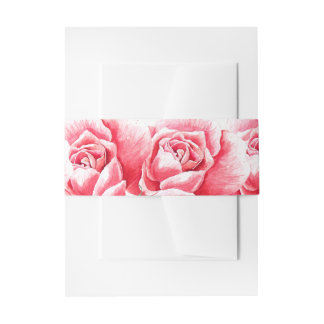 Painted Roses Invitation Belly Band