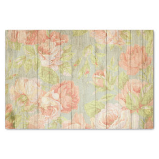 Painted Roses on Antique Wood Boards Tissue Paper