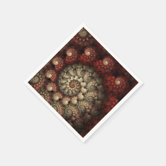 """""""Painted Roses"""" Red and White Spiral Fractal Paper Napkin"""