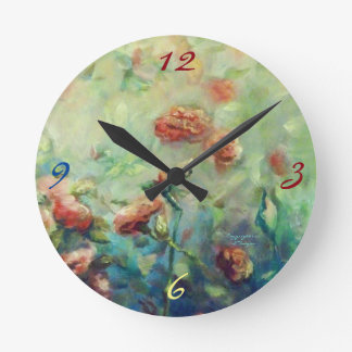 Painted Roses wall clock