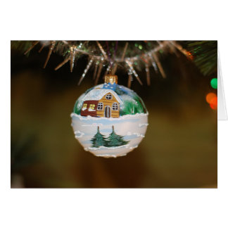 Painted rustic ornament on Christmas card