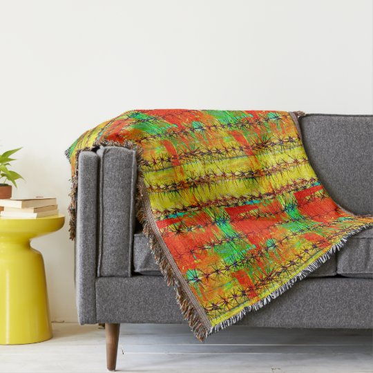 Painted Saguaro Throw Blanket