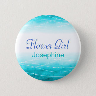 Painted sea Flower girl blue wedding pin / button