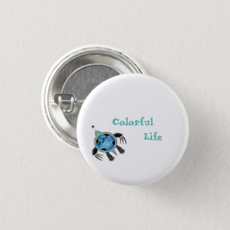 Painted Sea Turtle 1 Inch Round Button