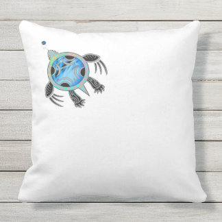 Painted Sea Turtle Throw Pillow