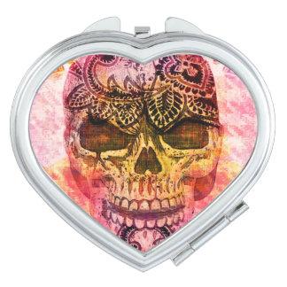 painted skull travel mirror