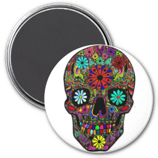 Painted Skull with Flowers Magnet