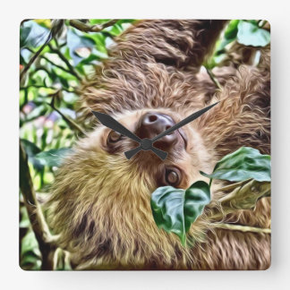 painted Sloth Square Wall Clock