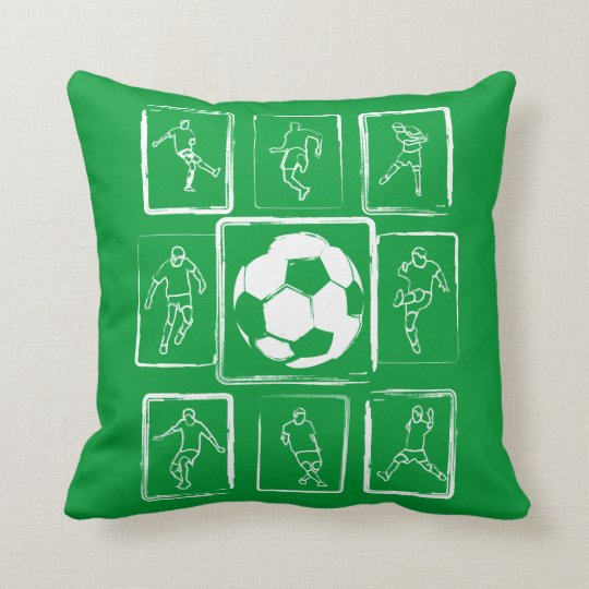 Painted soccer skills motivational throw pillow