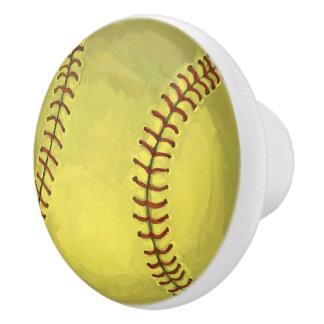 Painted Softball Art Ceramic Knob