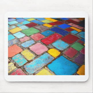 Painted Spanish tiles, blue, yellow and red photo Mouse Pad