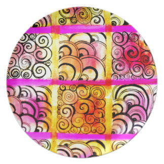 Painted Squares Art Plates