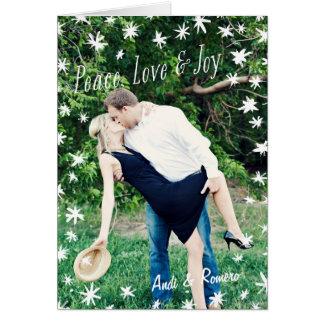Painted Stars Holiday Peace Love Joy Folded Card Greeting Card