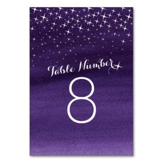 Painted stars purple sky Wedding table numbers