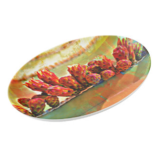 Painted Stove Pipe Cactus Porcelain Platter