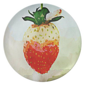 Painted Strawberry Party Plate