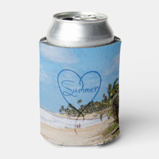 """Painted """"Summer"""" Heart Typography Beach Scene Can Cooler"""
