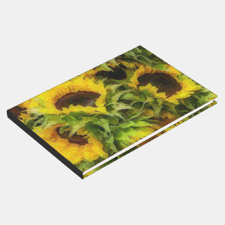 painted sunflowers guest book