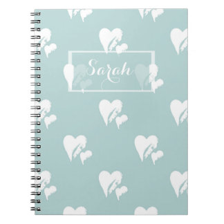 Painted Sweet Hearts   Sky Blue Pattern Gift Spiral Notebook