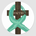 Painted Teal Cancer Survivor  Ribbon Classic Round Sticker