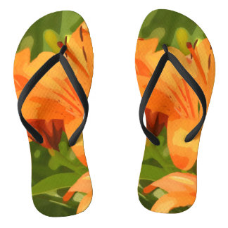 Painted Tiger Lily Flip Flops
