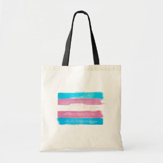 PAINTED TRANS PRIDE FLAG - -  TOTE BAG
