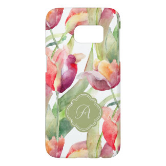 Painted Tulips Watercolor Floral with Monogram Samsung Galaxy S7 Case