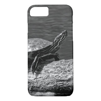 Painted Turtle on a Log (B&W) iPhone 7 Case
